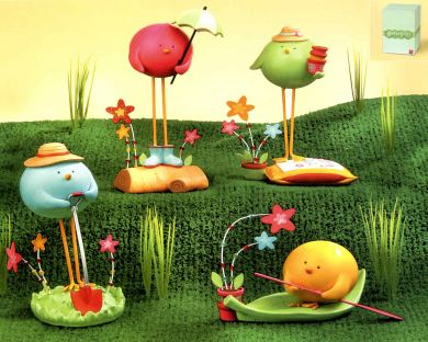 Garden Party Bird Figurines
