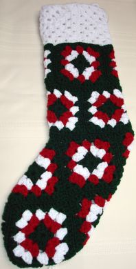 Handmade Crocheted Christmas Stocking - Green, Red and White