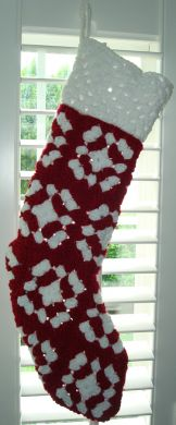 Handmade Crocheted Christmas Stocking - Red and White