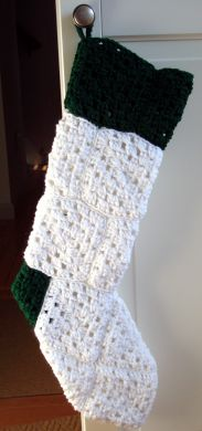 Handmade Crocheted Stocking Custom Order - Solid White with Green Accent